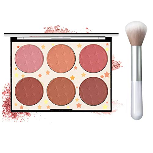 6 Colors Face Blush Palette,Light Luxury Blush Palette Matte Blush Powder Bright Shimmer Face Blush,Contour and Highlight Blush Palette with A Blush Brush