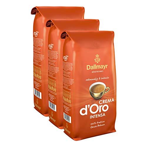Dallmayr Crema d'Oro Intensa Kaffee, Bohnenkaffee, Röstkaffee, ganze Bohnen, Kaffeebohnen, 3 x 1000 g