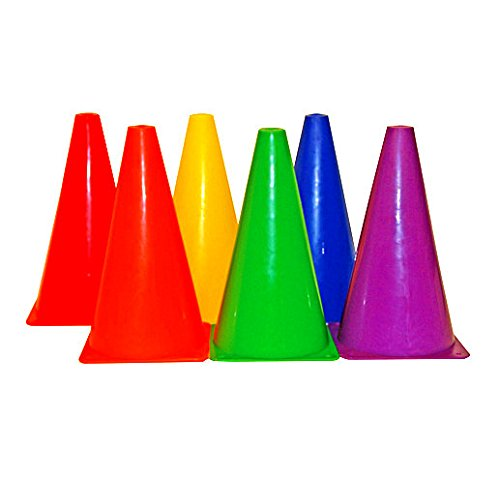 Playscene Training Cones - Set of 6 Multicolored 9 INCH Highly Durable Vinyl Cones (Multicolored Cones)