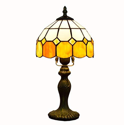 MG REAL 8-Zoll-Buntglas-Nachtlicht im mediterranen Stil gelbe Gitter Night Lights Wohnzimmer Esszimmer Arbeitszimmer Kinderzimmer Schreibtisch-Lampen Durchmesser 20CM,Dimming