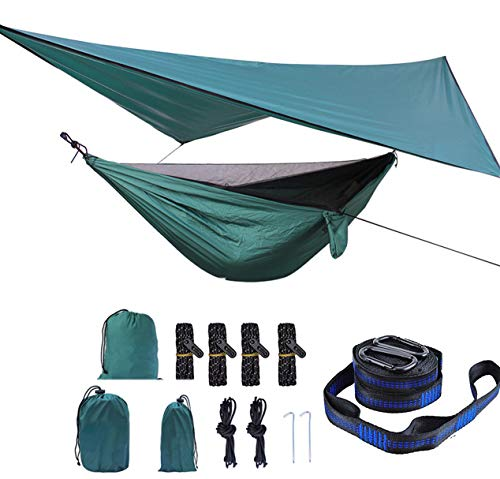 HongXingHai Camping Hammock with Mosquito Net and Rain Fly Outdoor Hammocks Tents for Camping Backpacking Hiking (Dark Green, L)