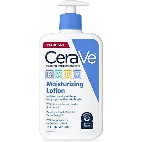 CeraVe Loción para bebés | Cuidado suave de la piel del bebé con ácido hialurónico y ceramidas | Sin parabenos y fragancia | 16 onzas