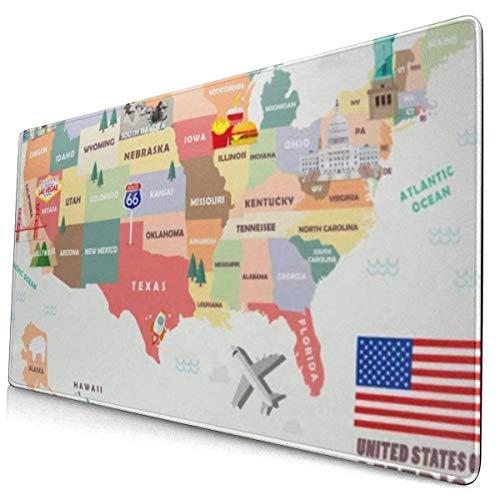HENTIN Antislip rubberen gamingmuismat, rechthoekige muismat Kaart van de Verenigde Staten van Amerika Beroemde attracties Monument Voedsel