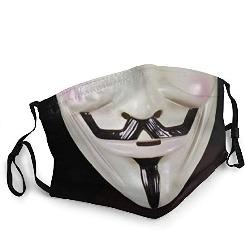 DIY Reusable Adjustable Face Face Mask Protection with 5-Layer Filter for Running Outdoor Print with Photo V for Vendetta