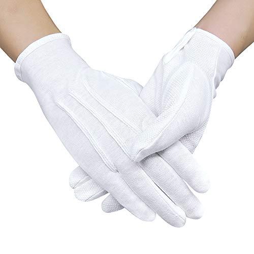 OLESILK Rutschfeste Parade Uniform Handschuhe Etiquette-Handschuhe für Frauen und Herren Baumwolle formelle Smoking Kostüm Ehrengarde Handschuhe mit Schnappverschluss, Weiß, 1Paar