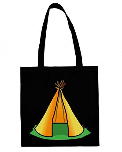 Jutebeutel Tipi- Zelt- Indian- DER Indianer- GEBÄUDE- Haus- Home- Struktur- AUFENTHALTSORT- Camping- IM FREIEN- TIERHEIM- Cartoon Baumwolltasche Einkaufstasche