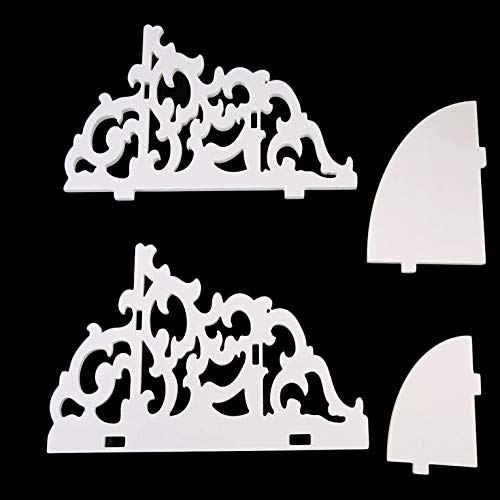 #N/V Estante de esquina de madera blanca montado en la pared de moda y azada venta vintage decoración floral de madera blanca