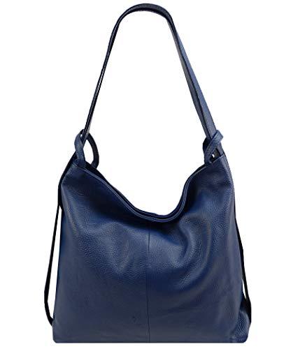 Freyday 2in1 Damen Handtasche Rucksack Designer Luxus Henkeltasche aus 100% Echtleder (Blau)