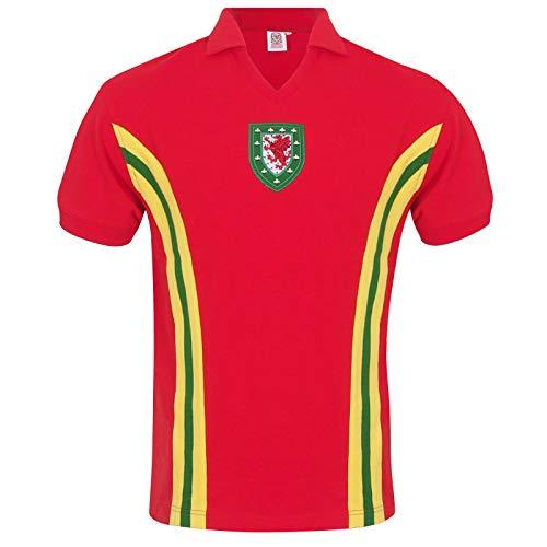 Wales FAW - Herren Trikot im Retro-Design von 1976/1984 - Offizielles Merchandise - Geschenk für Fußballfans - Rot - 1976 Nr. 10-3XL