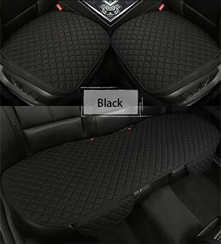 Autositzauflage Universal Autositzbezug Sitzkissen Sitzauflagen [Ohne Rückenlehne] 2+1 Vorder und Rücksitzbezüge (Schwarz,Rücksitz)