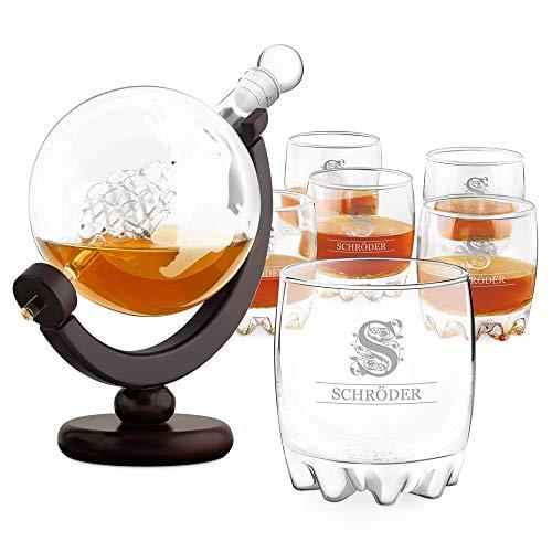Murrano Whisky Karaffe mit Gravur - Globus mit Schiff, 850 ml - 6er Whiskygläser Set - Whisky Dekanter - Geschenk zum Geburtstag für Männer - personalisiert - Monogramm