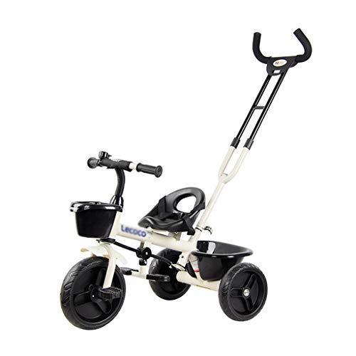 Xing Hua Home Voiture pour Enfants Tricycle Vélo Enfant Chariot Enfant Poussette Marcheur 2-5 Ans Applicable Trajet Pouvant Être Poussé Ceinture (Color : Blanc, Size : 72 * 48 * 97cm)