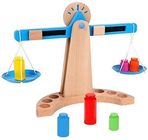 Toyshine Wooden Weights and Measures Balancing Scale   Colorful, Classic Wooden Children's Toy for Early Learning, Science, Math, STEM Education, and Fine Motor Skills
