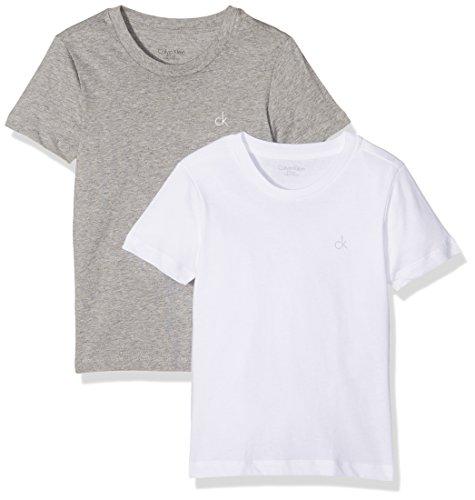 Calvin Klein Jungen T-Shirt 2PK SS Tee, Grau (White/Grey Htr 926), 158 (Herstellergröße: 12-14)