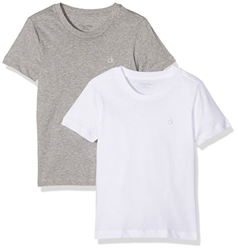 Calvin Klein Jungen T-Shirt 2PK SS Tee, Grau (White/Grey Htr 926), 110 (Herstellergröße: 4-5)