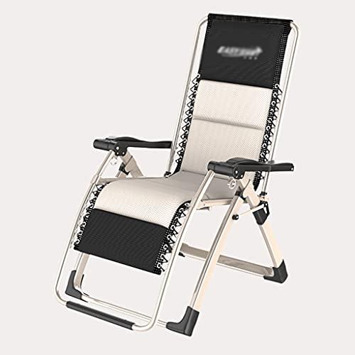Portátil Sillón reclinable / de salón / silla de tumbona para cero Patio de gravedad Asiento de línea de textura al aire libre, reposacabezas desmontable, 90 ° -170 ° Ajuste multi-ángulo, confort del