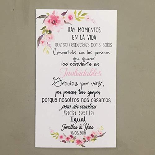 Tarjetas de Agradecimiento para Bodas 50 unidades imitación Kraft y rosas