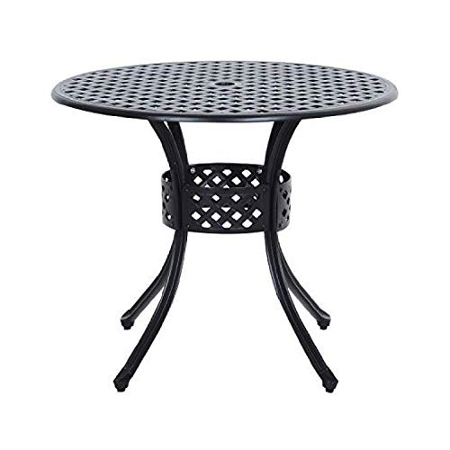 Patio Table, Round Metal 33-inch Outdoor Patio Table in Black Cast Aluminum