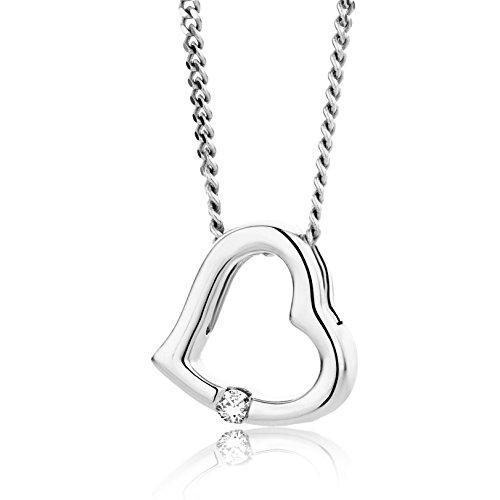 Orovi Collana - Pendente - Ciondolo Donna Cuore con Catena in Oro Bianco con Diamante Taglio Brillante Oro 18 kt /750 Catenina Cm 45