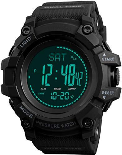 Kompass Schrittzähler Wettervorhersage Barometer Altimeter Höhenmesser Digital Armbanduhr Quarzuhr Outdoor Sportuhren Multifunktionsuhr