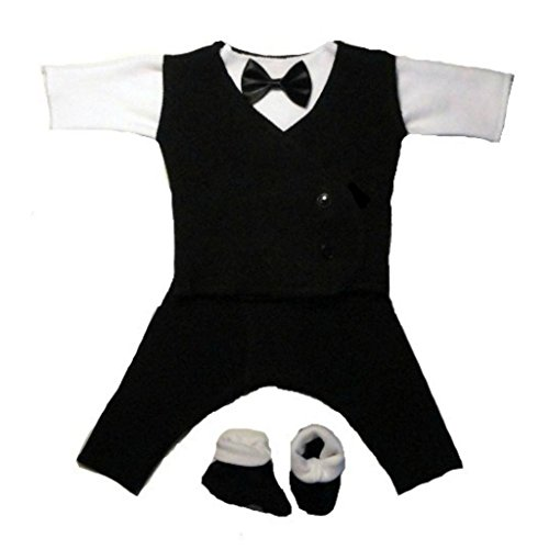 Jacqui's Baby Boys' Black and White Suit with Black Vest, Micro Preemie