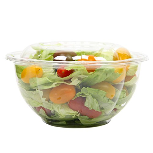 [50 Pack] 32 oz BPA Free Clear Plastic Bowl With Dome Lids Combo for Salads Fruits Parfaits, Disposable, Medium Size