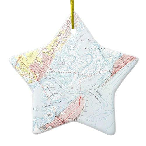 GFGKKGJFF Christmas Ornaments, Vintage Map Of Ocean City Nj (1952) Star Ceramic Christmas Ornaments for Christmas Tree Decoration, Keepsake,New Couples