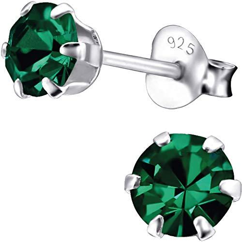 EYS JEWELRY Ohrstecker Damen rund 925 Sterling Silber Zirkonia smaragd-grün Damen-Ohrringe