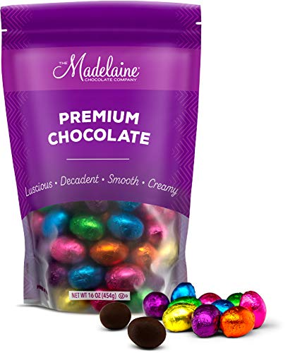 Madelaine Chocolates Easter Eggs - (1 LB) Solid Premium Dark Chocolate Eggs Foiled In Assorted Solid Jewel-tone Colors - Traditional Easter Basket Mainstays (1 LB) from The Madelaine Chocolate Company