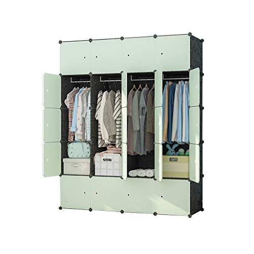 wardrobe Layered Combination Modern Simple Economical Rental Cabinets Detachable Home Bedroom Assembly (green) FANJIANI (Size : 147x47x183cm(A))