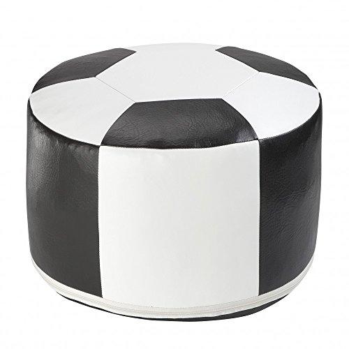 KCH Fußball-Sitzkissen Kunstleder weiss/schwarz-6300301 Ø 50/34 cm