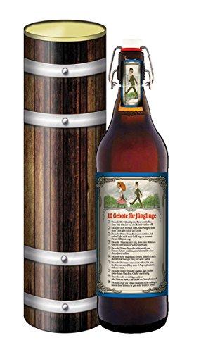 Bierpräsent in der Geschenkdose im Holzdesign - 10 Gebote für den Jüngling