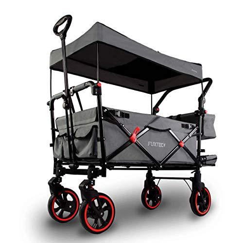FUXTEC faltbarer Bollerwagen FX-CT850 Grau – klappbar mit Dach, Vorder- und Hinterrad-Bremse, Vollgummi-Reifen & Innenraumverlängerung – für Kinder geeignet – Das Original