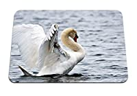 26cmx21cm マウスパッド (水の波紋鳥ホワイトスワン) パターンカスタムの マウスパッド