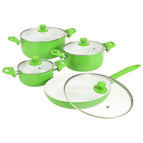 8-delige Kookgereiset aluminium Hedendaagse potten en pannen Set, hard-geanodiseerd aluminium krasbestendig Anti-aanbak Ovenbestendig PTFE groen