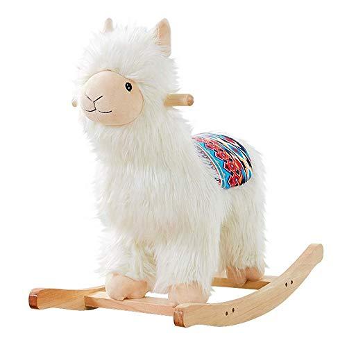 Baby Rocking Horse Ride Toy, Rocking Horse Shake The Birthday Gift Cartoon Alpaca Trojan Solid Wood Rocking Chair Toy
