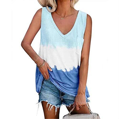 ZFQQ Camiseta sin Mangas Estampada de Moda Suelta para Mujer de Primavera y Verano