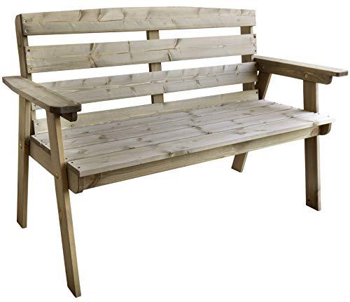 Trendyshop365 Garten-Bank Massivholz Kiefern-Holz 120cm Vorbehandelt FSC Sitzbank Holzbank 2 Sitzer Grau Bank