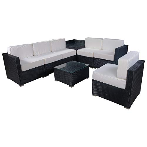 Mcombo Patio Furniture Sectional Set Outdoor Wicker Sofa Lawn Rattan Conversation Chair with 6 Inch Cushions and Tea Table(Cream White) 6082-8PC