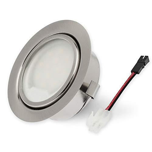 """Rolux LED Einbauleuchte""""DF-9251B-2"""" solo matt-chrom 58mm Bohrloch 2,5W 12V warm-weiß DF-9251 9251B df-9251b ultra Flach 9251-2 ersetzt 20W Halogen Leuchtmittel austauschbar"""