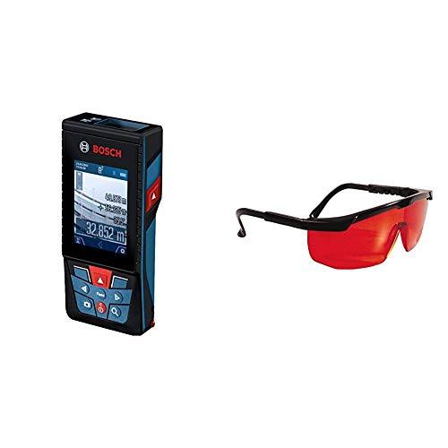 Bosch Professional Laser Entfernungsmesser GLM 120 C (Messbereich: 0,08 - 120 Meter, Zubehör Set) & Stanley Laserbrille 1-77-171 Rot – Laserlichtbrille für einfacheres Erkennen von Laserstrahlen