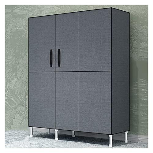 Armario portátil para colgar ropa, organizador de armario, armario con puertas, estructura resistente, armario de almacenamiento de 100 cm de largo x 17.7 cm de profundidad x 69 cm de alto