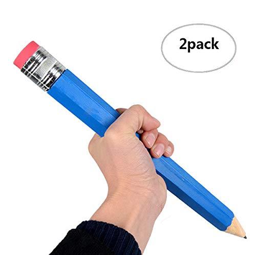 Big lápiz, 2pcs en paquete al azar colores, extra grande lápiz lápiz de madera con goma de borrar final XXXL, niños juguete y regalo
