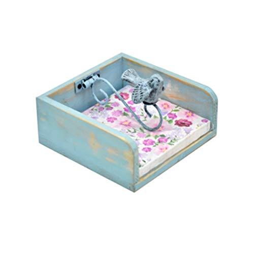 Caja de pañuelos para regalo de papel decorativo de madera, organizador de papel de seda, decoración elegante para oficina, dormitorio, mesita de noche (color: B)
