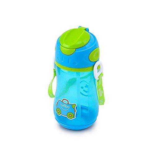 Trunki Kinder-Trinkflasche mit Strohhalm und Tragegurt - Terrance (blau)