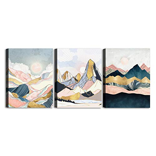 Geometric Watercolor Painting Pink Abstract Mountain Canvas Wall Art Minimalism Nordic Style Sunrise and Sunset scenery Picture Prints Artworks set 3 Panels for Living Room Bedroom Bathroom