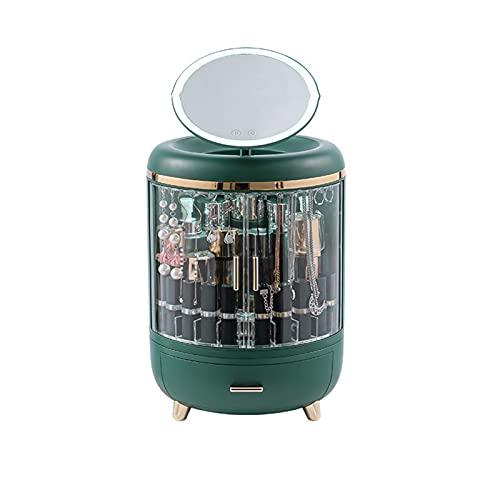 SUOTENG Joyero con Cerradura, Organizador de Joyas portátil DIRIGIÓ Collar de luz Pendientes Anillos Caja de joyería de Almacenamiento de Embalaje (Color : Green)