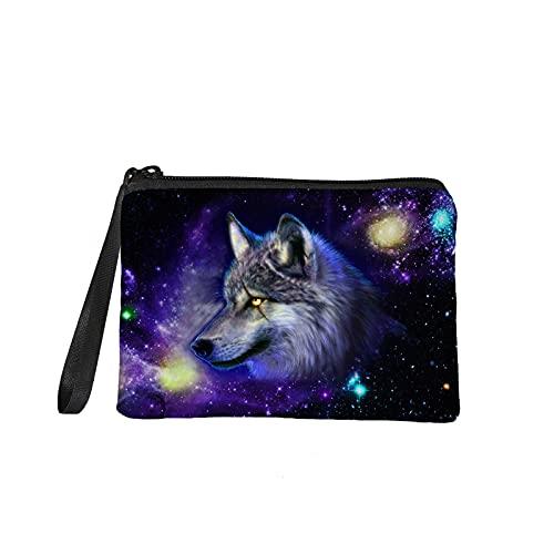 KUIFORTI Pequeño monedero de las mujeres de los hombres casual cremallera cambio bolsa tarjeta teléfono titular bolso, Galaxy Wolf (Azul) - KI-K282D82