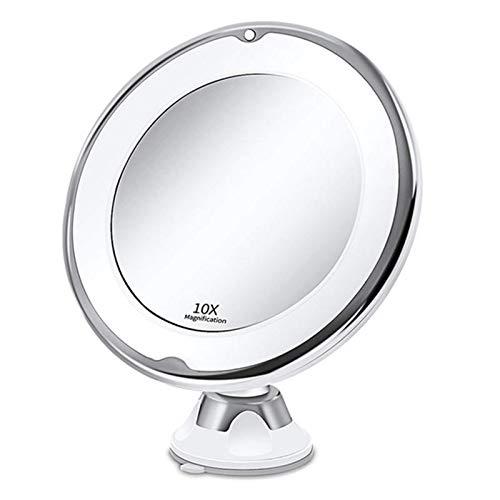 Asffdhley Espejo de Maquillaje 10x Aumento de Maquillaje de la Vanidad Cosméticos Redonda de Baño Espejos con Luz LED