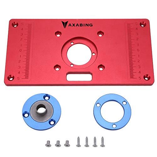 Aluminium-Fräsentischeinsatz – Befestigungsplatte für Trimmfräsentisch, Holzbearbeitung, Oberfräsenbefestigungsplatte mit 2 Aluminium-Ringen und Montageschrauben für Werkbank, rot